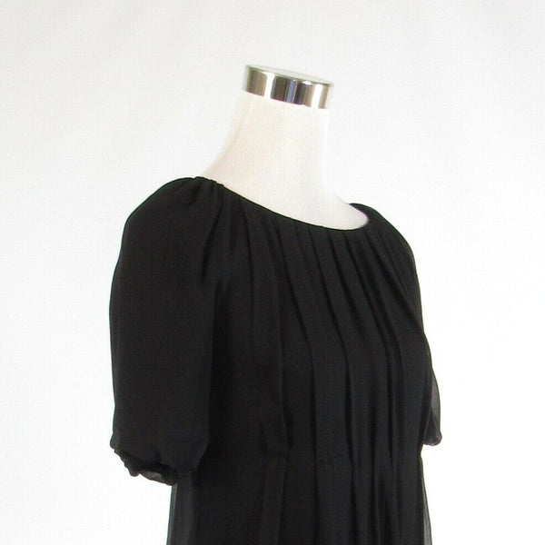 Black 100% silk COUTURE COUTURE sheer overlay 1/2 sleeve shift dress S