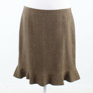 Brown herringbone DAVID MEISTER flared hem pencil skirt 12-Newish
