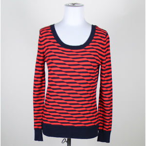 GAP red & navy striped 100% cotton long sleeve scoop neck ribbed trim sweater S-Newish