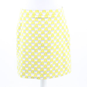 Light green white geometric cotton blend BANANA REPUBLIC Milly A-line skirt 10