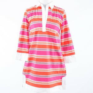 Orange pink uneven striped cotton blend TIZZIE 3/4 sleeve shirt dress S