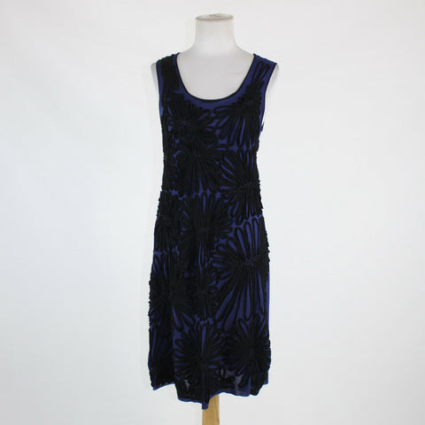 Dark blue & black floral applique CHAN LUU sleeveless scoop neck beaded dress S-Newish