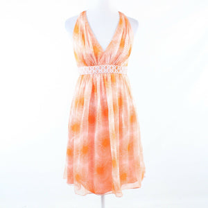 Light orange peach floral print 100% silk CARMEN MARC VALVO empire waist dress 2