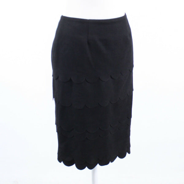 Black ANTHROPOLOGIE MAEVE scalloped tiered skirt 2-Newish