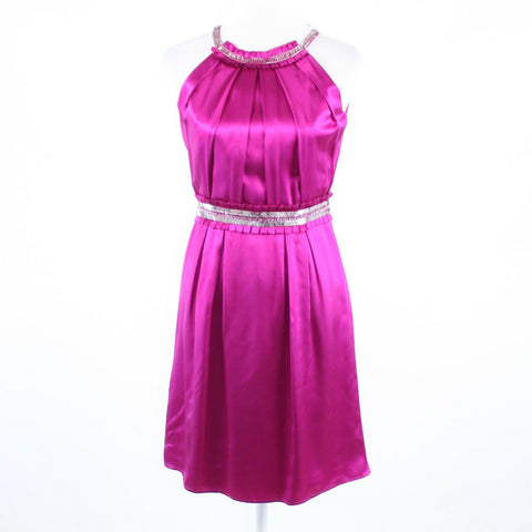 Fuchsia pink silk satin BADGLEY MISCHKA sleeveless beaded trim sheath dress 4