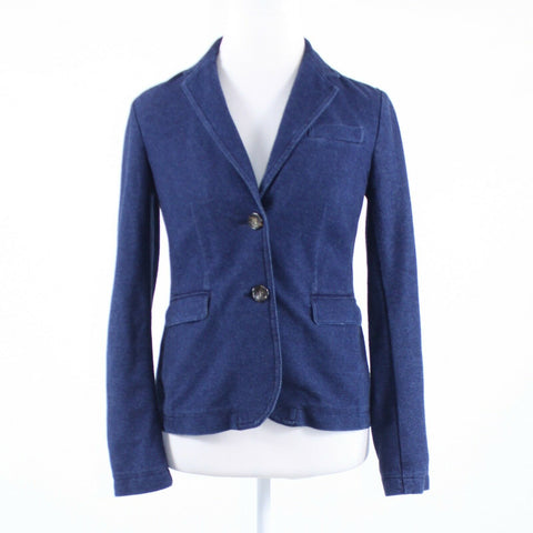 Dark blue stretch denim TALBOTS long sleeve blazer jacket XS-Newish