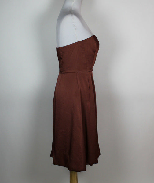 BANANA REPUBLIC metallic brown strapless bubble dress 0-Newish