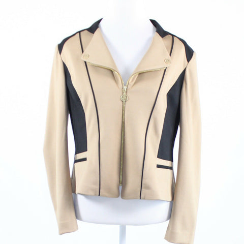 Beige black stretch ANNE KLEIN long sleeve jacket PL-Newish