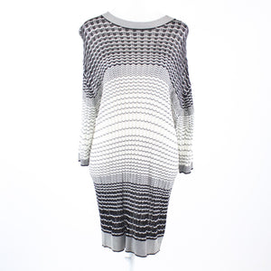 Black white chevron open knit ANTHONY BERNARD 1/2 sleeve shift dress XL