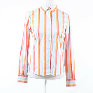 Light blue orange striped cotton blend LACOSTE button down blouse IT40 6
