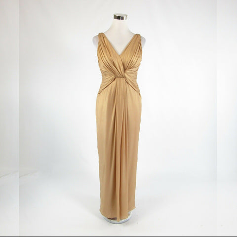 Beige gold 100% silk KAY UNGER sleeveless ball gown dress 6