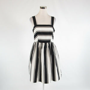Black white uneven striped cotton blend MILLY sleeveless A-line dress 10