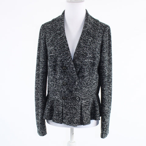 Black white textured double breasted tweed ECCOCI long sleeve blazer jacket 12