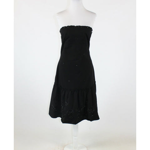 Black stretch embroidered beaded 100% cotton LITHE strapless A-line dress 8