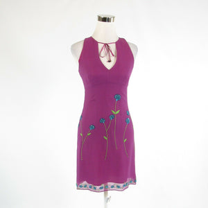 Purple blue 100% silk ANTHROPOLOGIE NANETTE LEPORE sleeveless sheath dress 2-Newish
