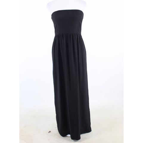 Black 100% silk THAYER strapless maxi dress L-Newish