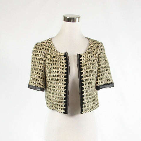 Metallic gold black geometric KAY UNGER open front short sleeve bolero jacket 4