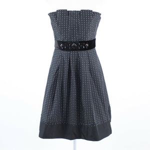 Charcoal gray white polka dot BCBG MAX AZRIA strapless A-line dress 6