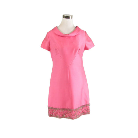 Pink LEE CLAIRE NEW YORK short sleeve beaded rhinestone trim vintage dress M