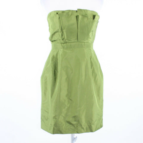 Olive green 100% silk J. CREW built-in boning bubble dress 8