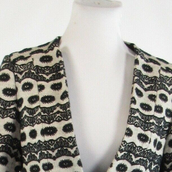 Black gray geometric 100% cotton PARISIAN SIGNATURE 3/4 sleeve blazer jacket 6