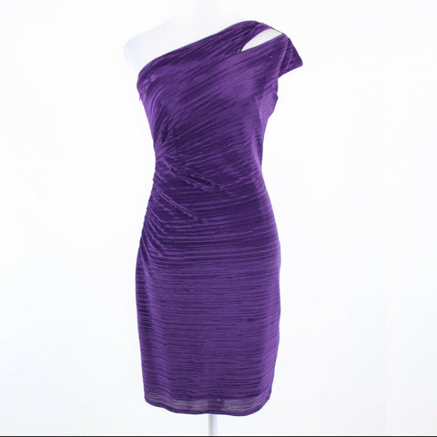 Purple CARMEN MARC VALVO one shoulder dress 6 NWT $480-Newish