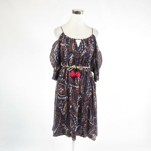Dark blue brown geometric ANTHROPOLOGIE, VANESSA VIRGINIA A-line dress 2-Newish