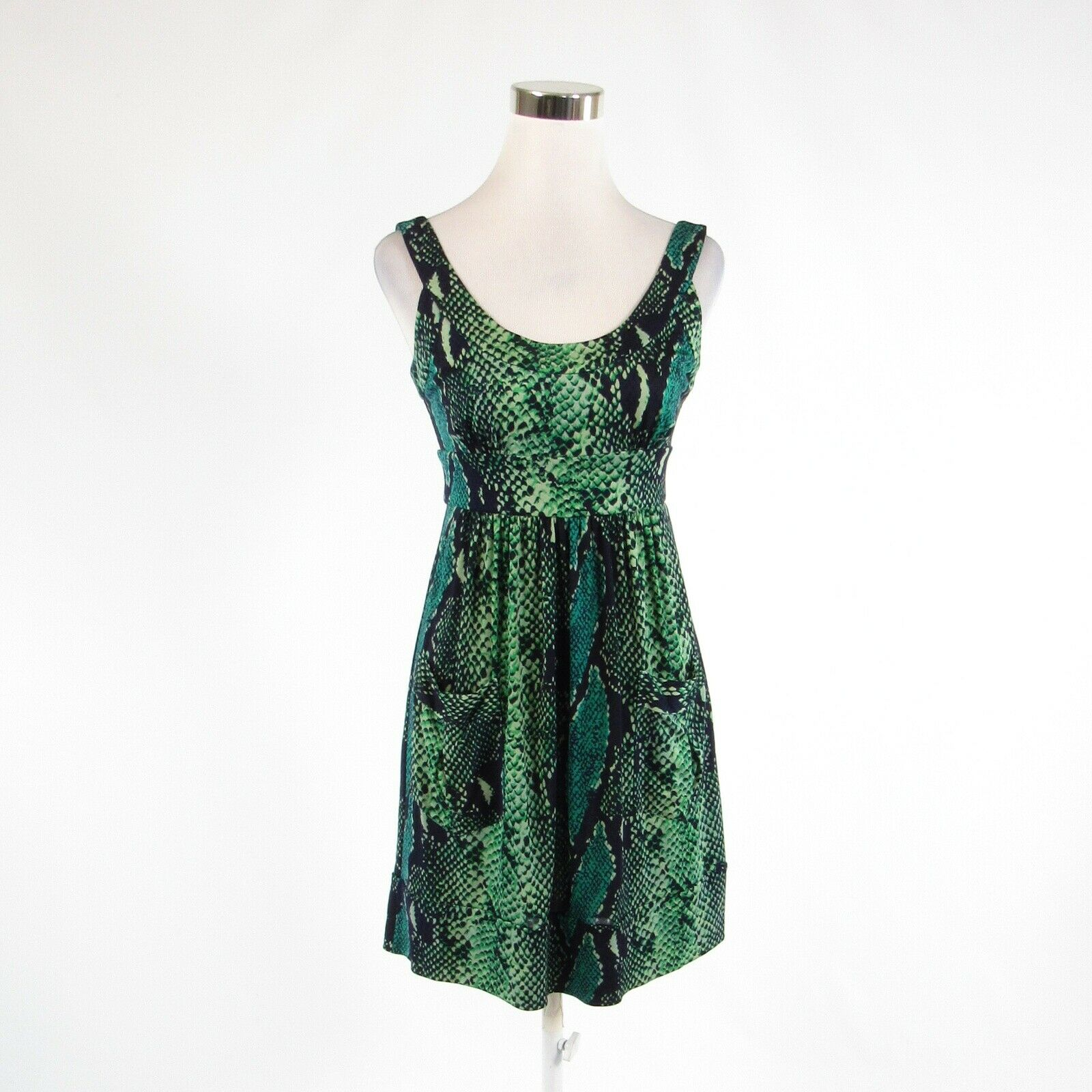 Black green snake 100% silk DIANE VON FURSTENBERG empire waist dress 4