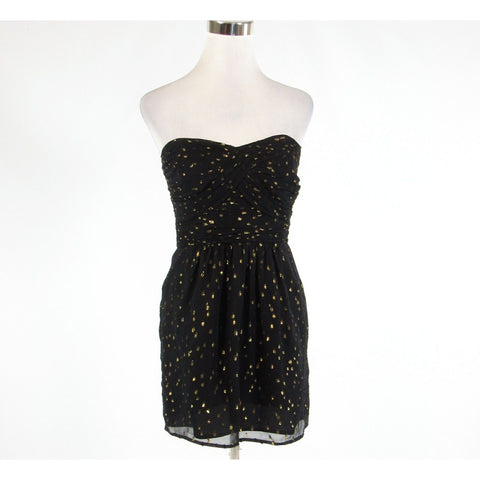 Black gold dots ANTHROPOLOGIE SHOSHANNA sheer overlay sleeveless A-line dress 2