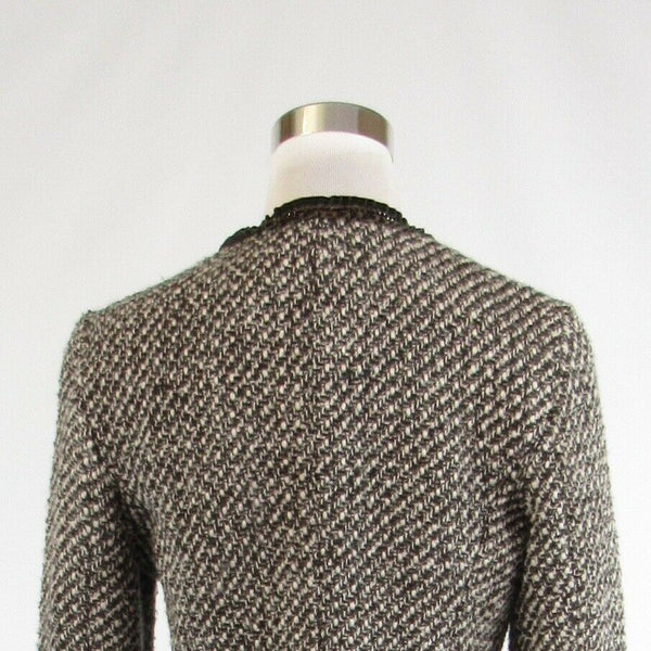 Dark brown ivory textured COLDWATER CREEK Shaped long sleeve blazer jacket 8