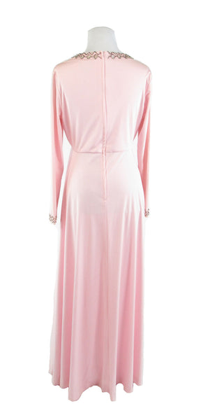 Light pink LILLIE RUBIN KAY KIPPS beaded trim  vintage maxi dress M