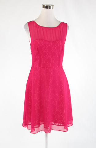 Fuchsia pink BETSEY JOHNSON sheer overlay stretch sleeveless A-line dress 6