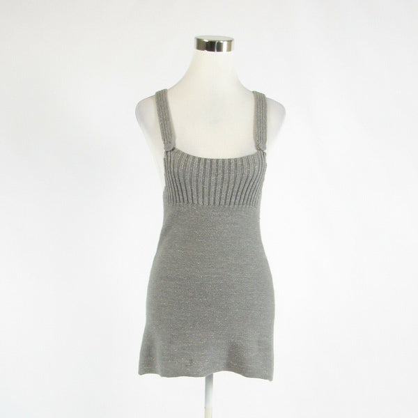 Heather gray cotton blend SHAE shimmery sleeveless vest sweater ribbed S-Newish