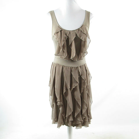 Cool brown cotton RIC RAC stretch sleeveless tiered dress XS