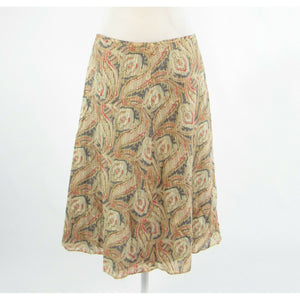 Light beige gray paisley 100% cotton J. CREW A-line skirt 6-Newish