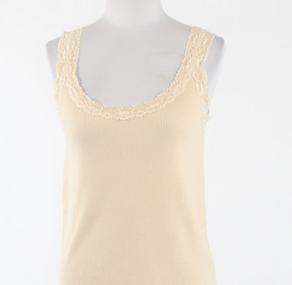 Cream cotton blend CHICO'S sleeveless scoop neck stretch lace trim blouse 1 8 S-Newish