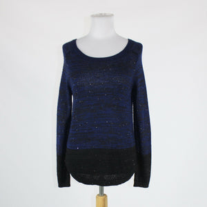 Black blue colorblock space dye ANN TAYLOR LOFT sequined ribbed trim sweater S