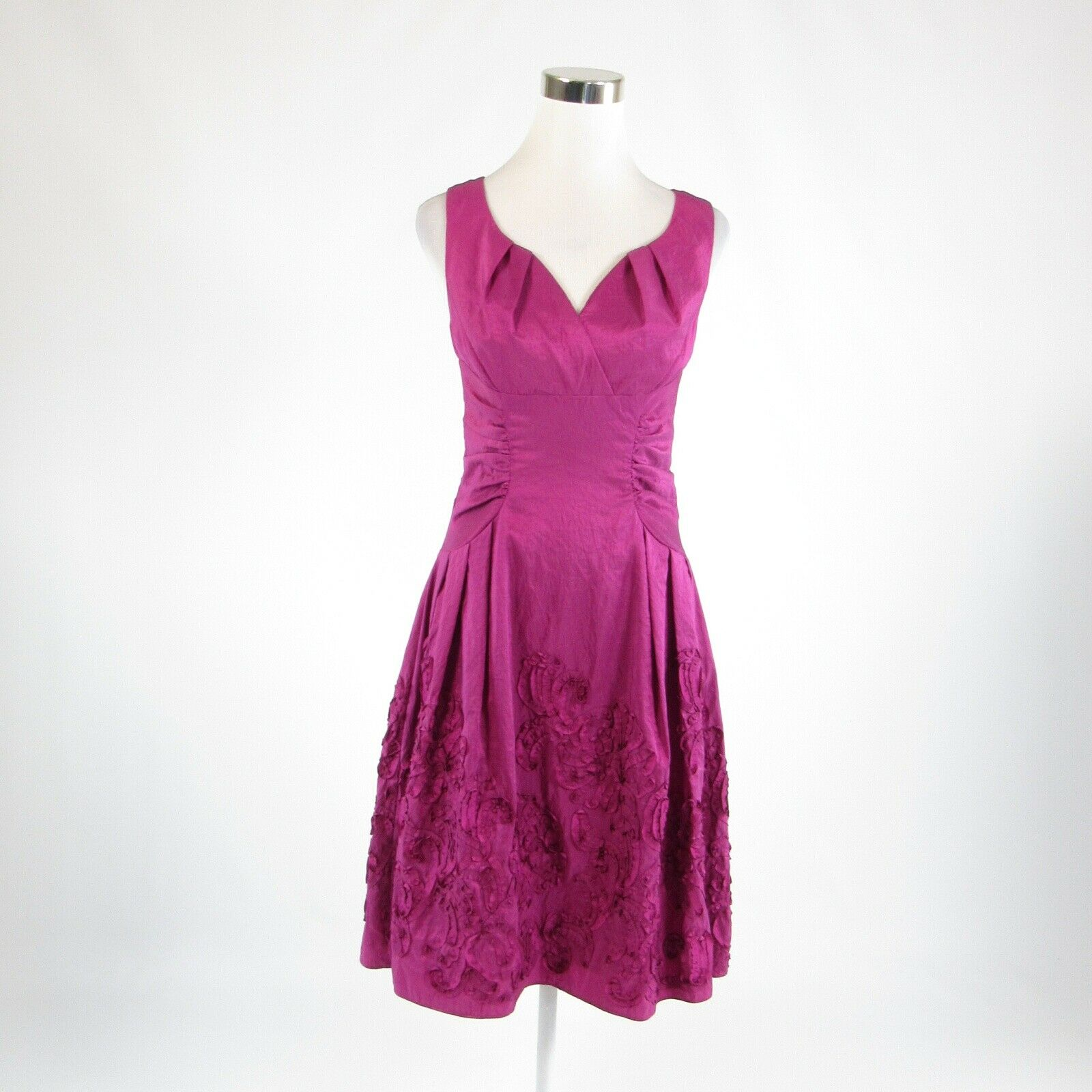 Purple ADRIANNA PAPELL sleeveless A-line dress 4