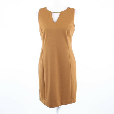 Light brown stretch CARMEN MARC VALVO keyhole sleeveless sheath dress 6