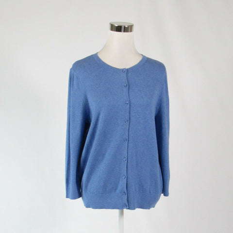 Blue 100% cotton ANN TAYLOR LOFT 3/4 sleeve cardigan sweater L