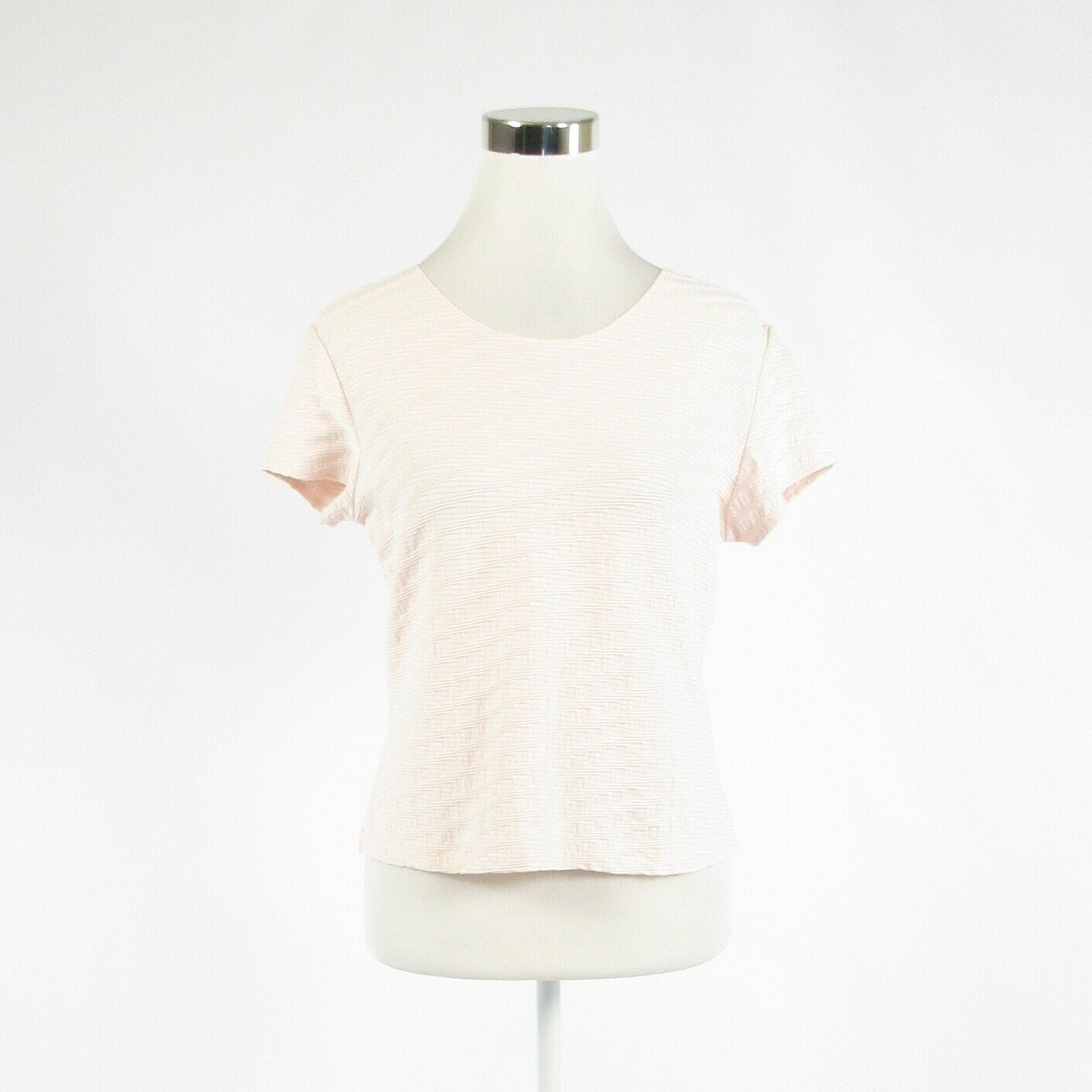 Light pink textured TALBOTS stretch short sleeve blouse M-Newish