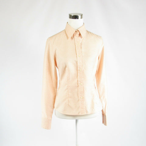 Peach geometric 100% cotton J. MCLAUGHLIN long sleeve button down blouse 6-Newish