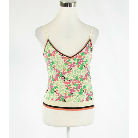Light green pink floral print 100% cotton MAXMARA spaghetti strap cami blouse S-Newish
