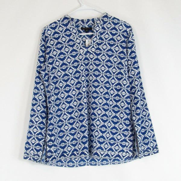 Dark blue white geometric 100% cotton BANANA REPUBLIC blouse M