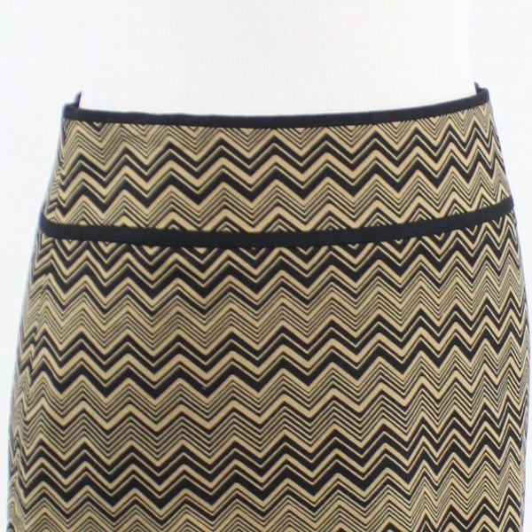 Beige black chevron cotton blend ANN TAYLOR LOFT pencil skirt 0