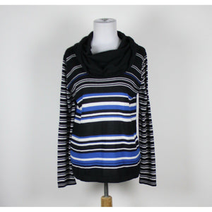 NEW DIRECTIONS black white & blue striped cotton blend cowl neck sweater PXL-Newish