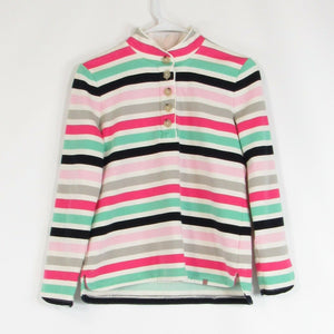 White pink striped TALBOTS stretch knit blouse PS