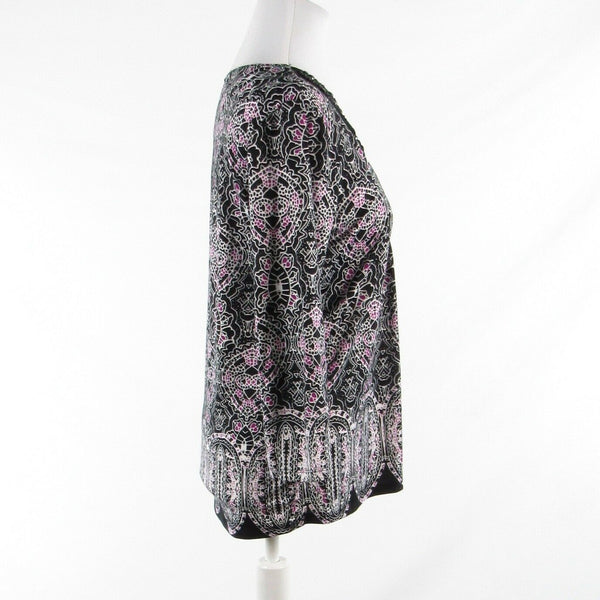 Black white paisley NEW DIRECTIONS stretch beaded 3/4 sleeve tunic blouse M