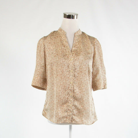 Light beige orange dots satin THE LIMITED 1/2 sleeve button down blouse S-Newish