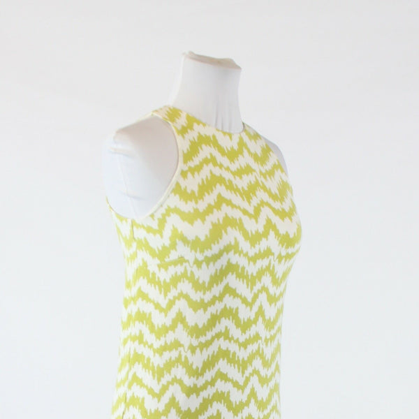 Olive green white geometric stretch ANN TAYLOR sleeveless shift dress PXXS
